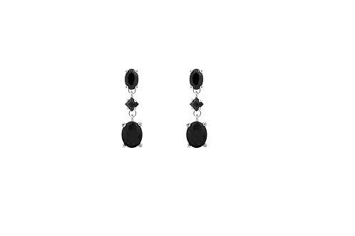 Silver Black CZ 3 Stone Drop Earrings - SE1359BKCZ