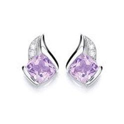 Silver Amethyst Stud Earrings - P1378ES-2