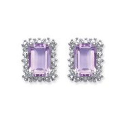 Silver amethyst & cz stud earrings- NSNCLEDSQAME