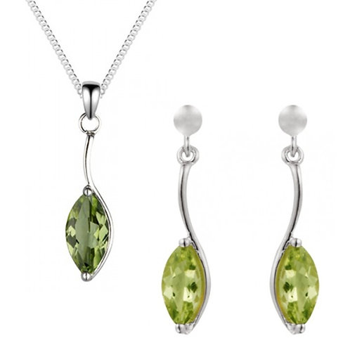 Silver Real Peridot Marquise Shaped Pendant and Earrings Set - SP1186PD-SE1155PD