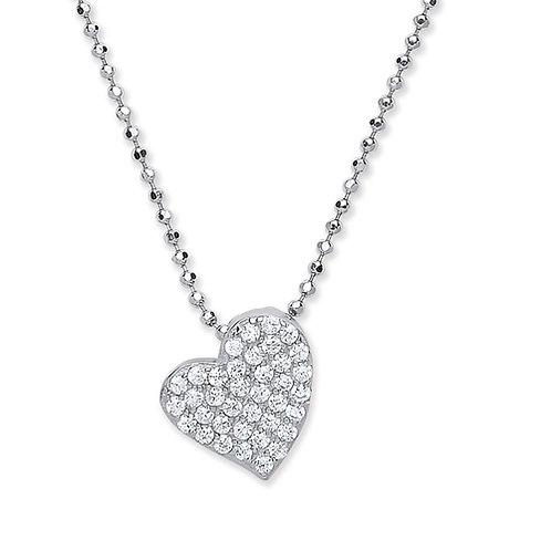Cubic Zirconia Decorative Heart Pendant - PUR3841-1