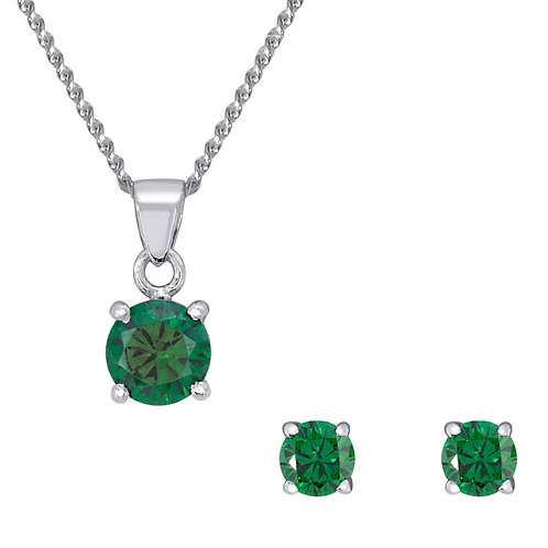 Silver Emerald Round Pendant and Earrings Set - SP1130ECZ-SE1108ECZ-SET