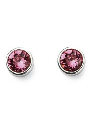 Silver Pink Cubic Zirconia Stud Earrings - E5565