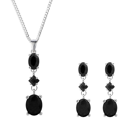 Silver Black CZ Pendant and Earrings Set  - SP1360BKCZ-SE1359BKCZ -SET