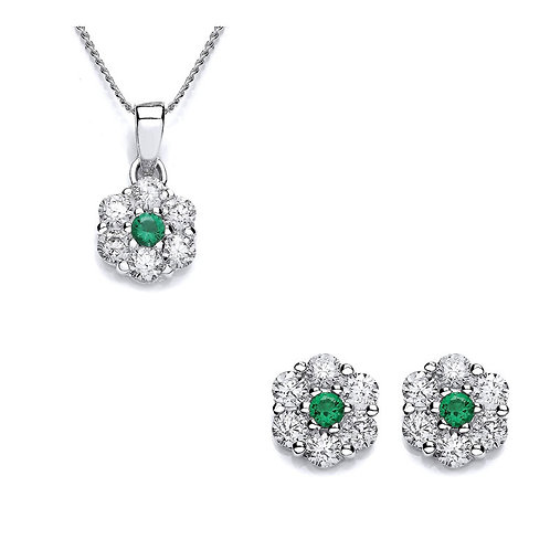 Silver Emerald Coloured CZ and White CZ Pendant and Stud Earrings - P3701P-3-SET