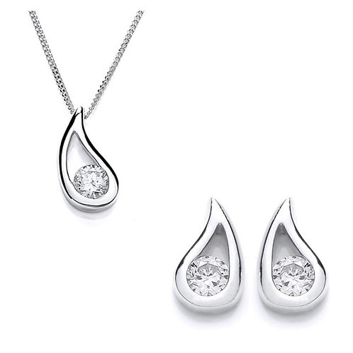 Cubic Zirconia Open Pear Pendant & Earrings Set - PUR1722-SET