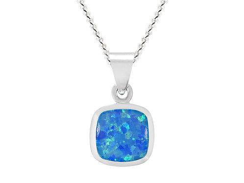 Silver Blue Square Opal Pendant - SP2656BCOP