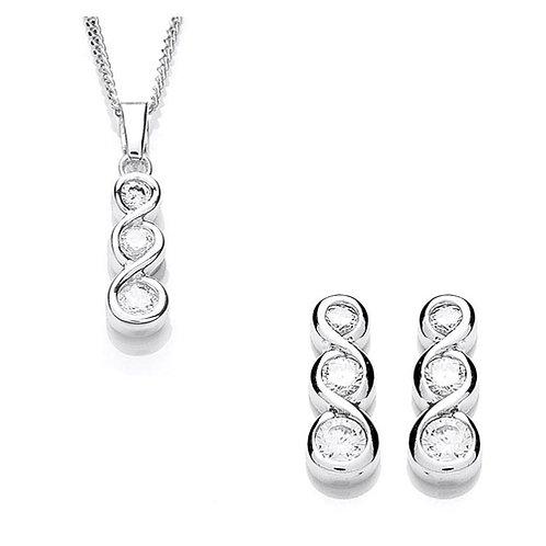 Cubic Zirconia Pendant & Stud Earrings Set - PUR1310-SET