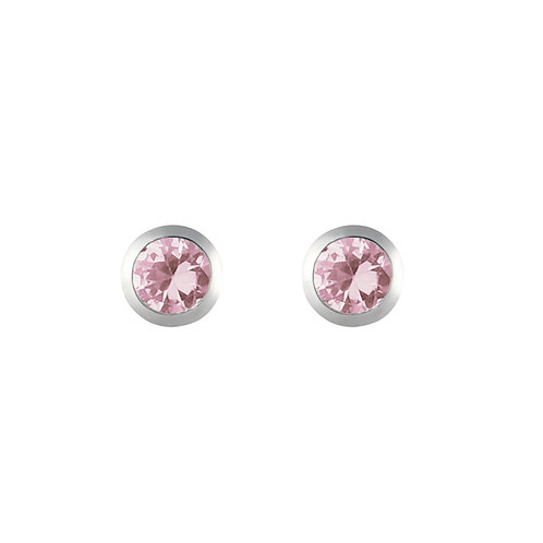 Silver Pink CZ Round Stud Earrings - SE1122PCZ