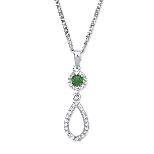 Silver Emerald Coloured and CZ Pendant - P3810P-3