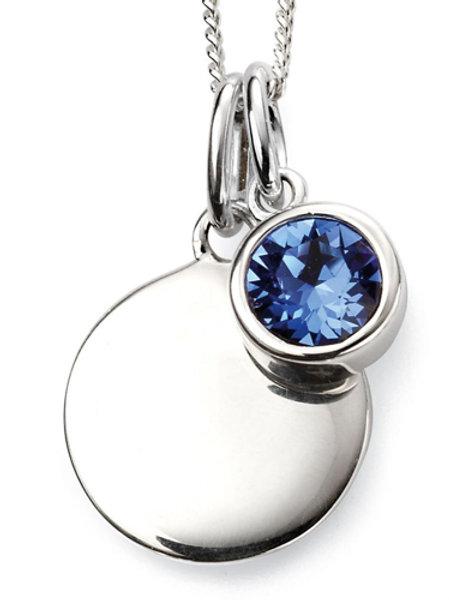 Silver Round Sapphire Coloured Pendant - P4598