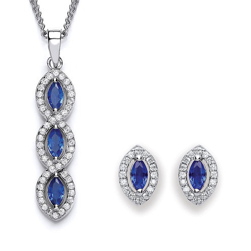 Silver Sapphire Coloured Marquise CZ Pendant and Earrings Set - P3691-1- SET
