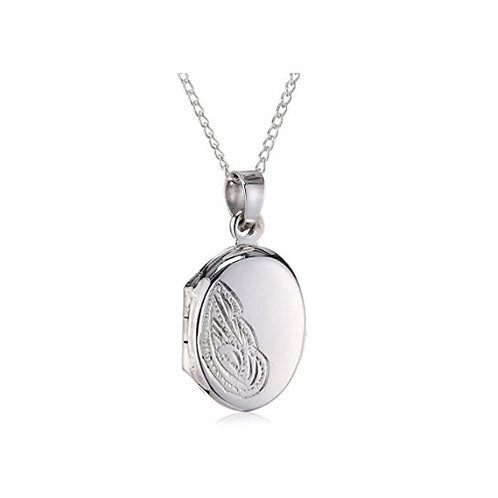Silver Engraved Locket - 0938-1