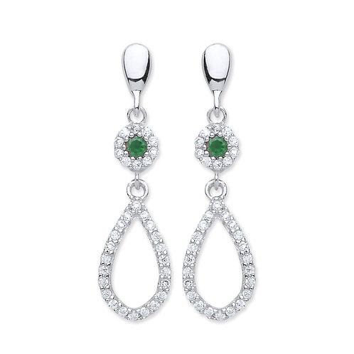 Silver Emerald and White CZ Drop Earrings - P3810ED-3