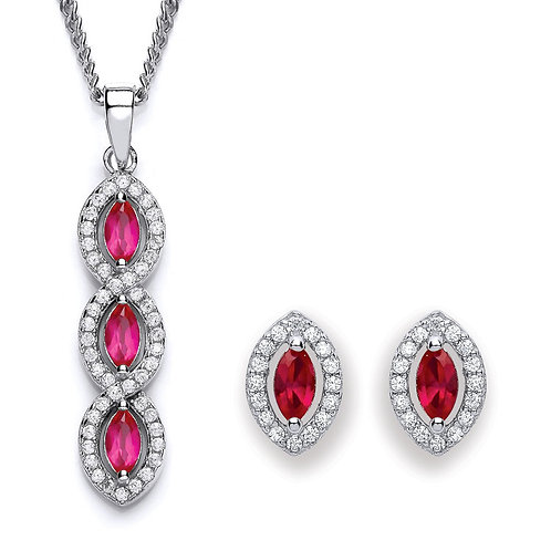 Silver Ruby Coloured Marquise CZ Pendant and Earrings Set - P3691-2- SET