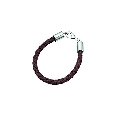 Stainless Steel Clasp Brown Leather Bracelet  - B3601Y
