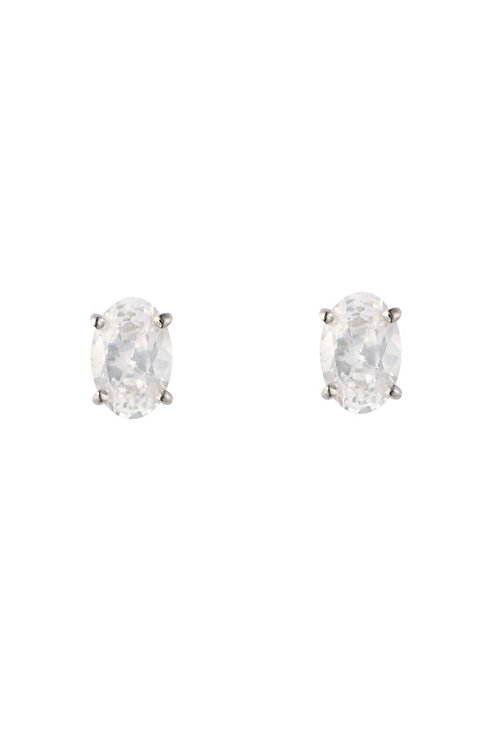 Silver White CZ Oval Stud Earrings - SE1103WCZ