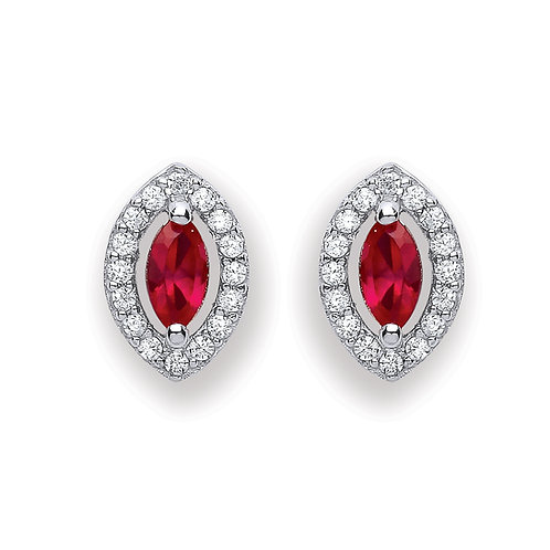 Silver Red Marquise Shaped Stud Earrings - P3691ES-2