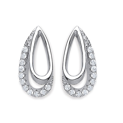 Cubic Zirconia Open Design Stud Earrings - PUR3840ES