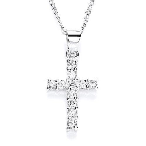 Silver Cross Cubic Zirconia Pendant - PUR0867-1