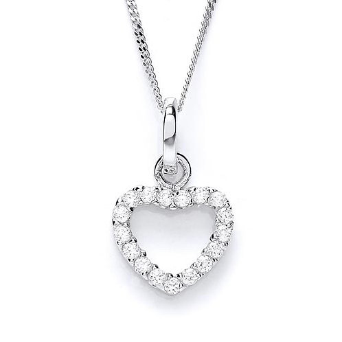 Share 	 Cubic Zirconia Open Heart Pendant - PUR1657P