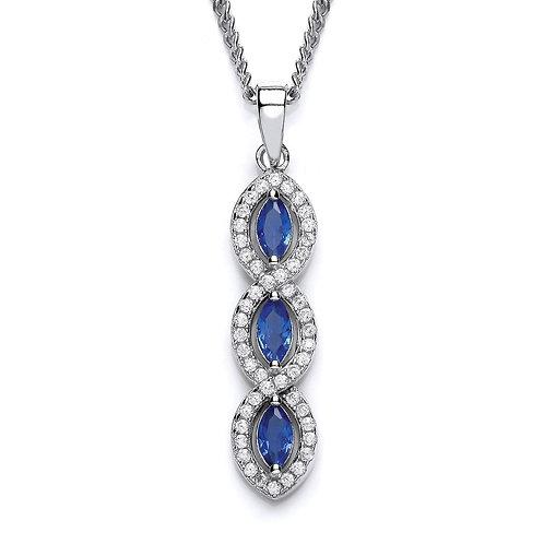 Silver Sapphire Marquise Pendant - P3691P-1