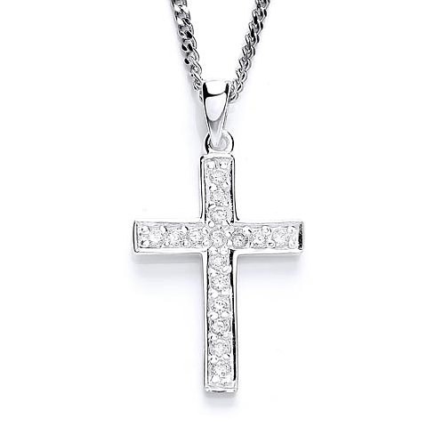 Cubic Zirconia Silver Cross Pendant - PUR1489P