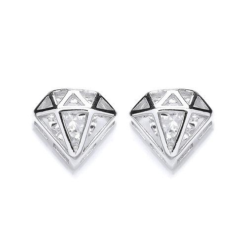 Silver White CZ Diamond Shaped Stud Earrings - PUR3562ES