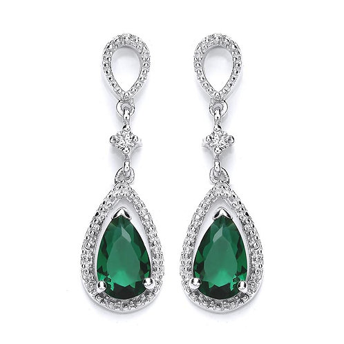 Silver Emerald Coloured CZ and White CZ Drop Earrings - P3700ED