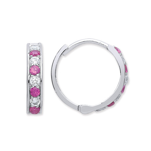 Silver Ruby and White CZ Hoop Earrings - P3801ES-2