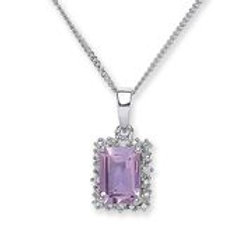 Silver amethyst & cz pendant with chain- NSNCLEDSQAMP