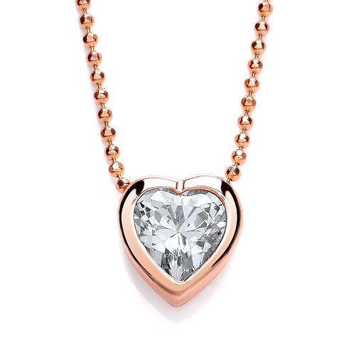 PURITY 925 Rose gold plated heart pendant with chain - PUR3606/1