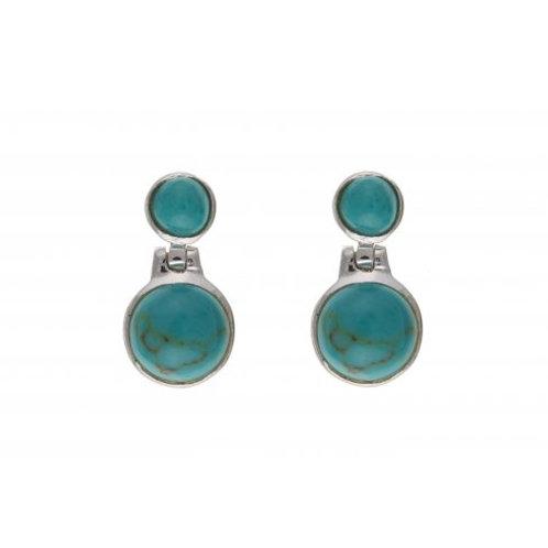 Silver Turquoise drop earrings- BP0599