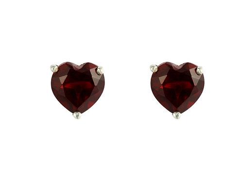 Silver Garnet Heart Stud Earrings - SE1101GA