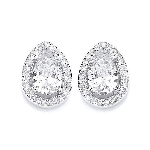 Cubic Zirconia Pear Stud Earrings - PUR1511ES