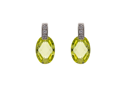Silver Peridot Oval Earrings - BP6559