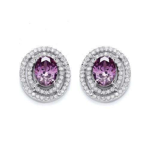 Silver Amethyst Stud Earrings - P3093ES-1