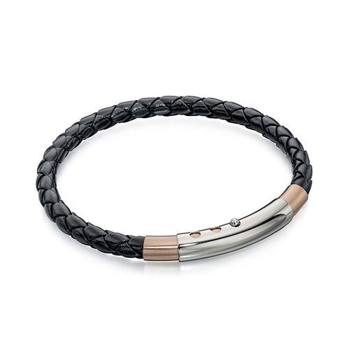 Fred Bennett Rose Gold Black Bracelet - B4687