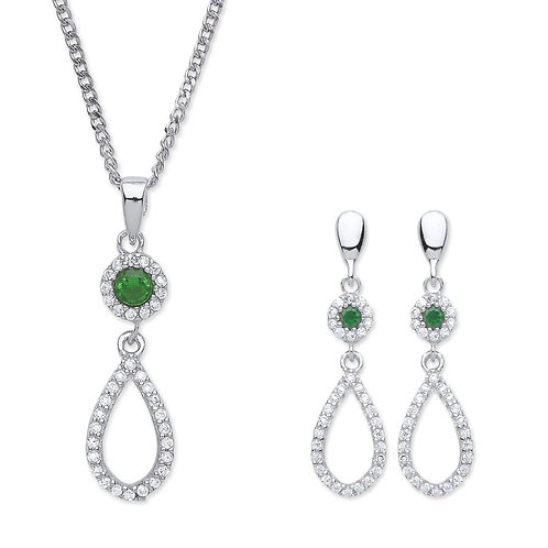 Silver Emerald Coloured CZ Pendant and Earrings Set - P3810-3-SET