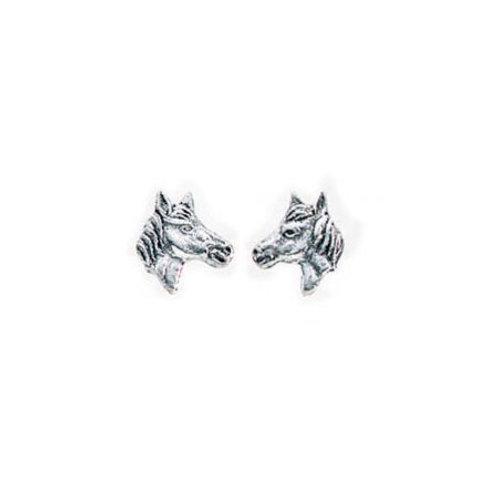 Silver Horse Head Stud Earrings - A737