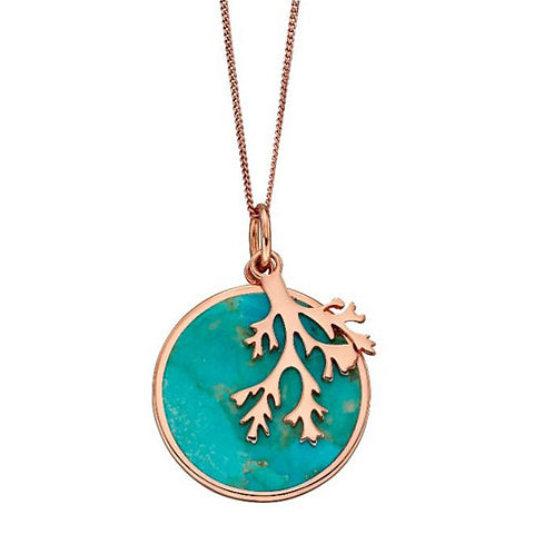 Rose Gold Plated Silver Turquoise Round Pendant - P4833T