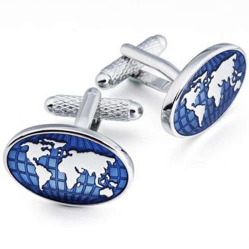 Blue World Map Cufflinks - CK1144