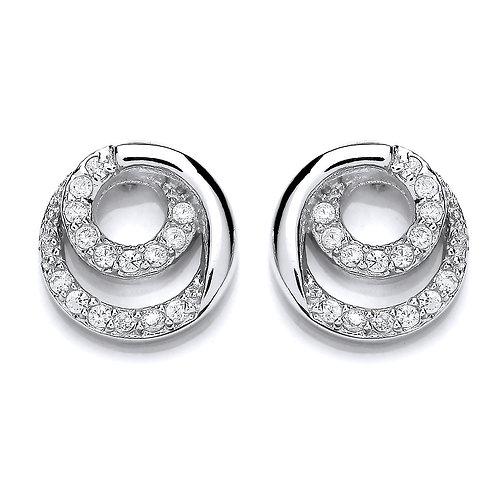 Silver White CZ Circular Stud Earrings - PUR3696ES