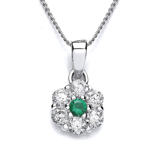 Silver Emerald Coloured CZ and White CZ Pendant - P3701P- 3