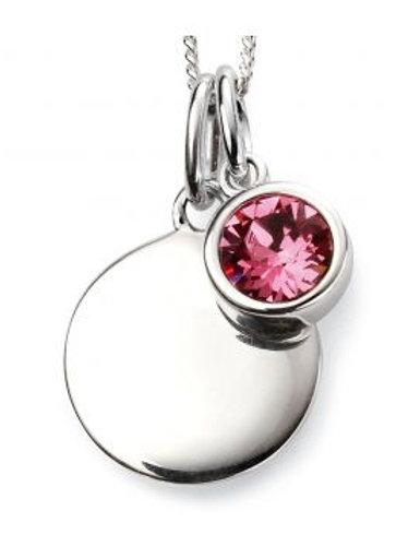 Silver Round pink sapphire Coloured Pendant - P4569