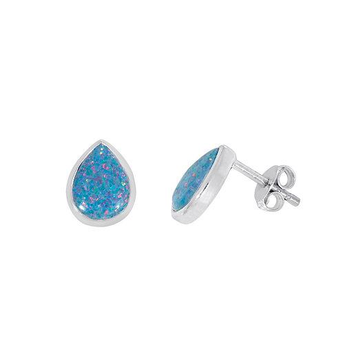 Silver Multi-Colour Opal Teardrop Earrings - SE2311MCOP