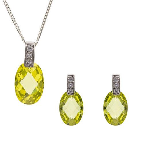 Silver Peridot Pendant and Oval Earrings Set - BT4484-BP6559-SET