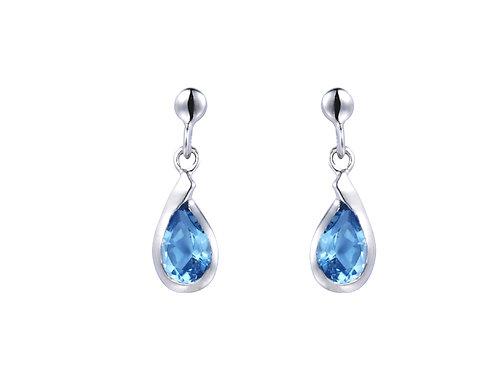 Silver Blue Topaz Stud Earrings - SE3098BT