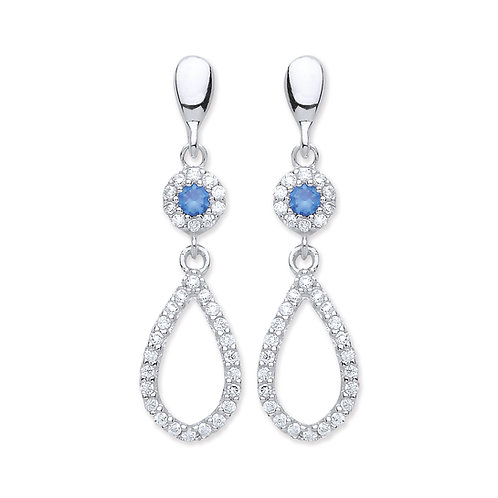 Silver Sapphire and White CZ Drop Earrings - P3810ED-1