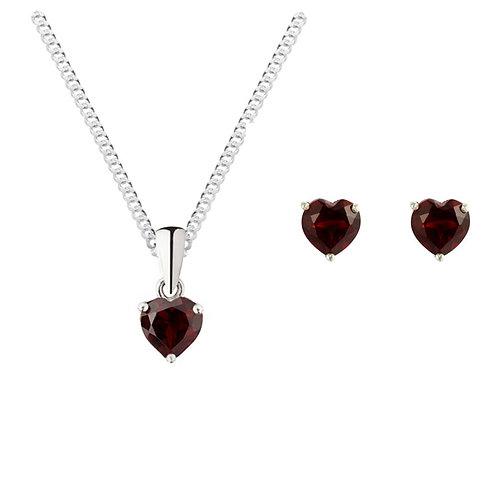 Silver Garnet Heart Shaped Pendant and Earrings Set - SP1140-SE1101GA-SET